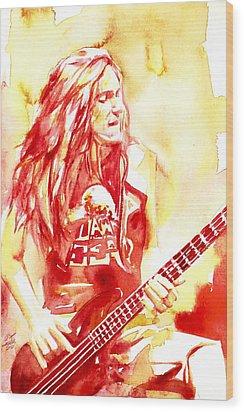 Cliff Burton Playing Bass Guitar Portrait.1 Wood Print by Fabrizio Cassetta