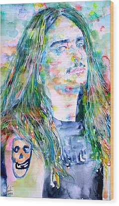 Cliff Burton Portrait.1 Wood Print by Fabrizio Cassetta