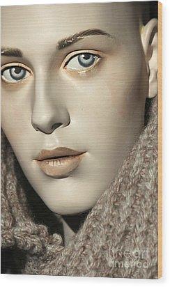 Closeup On Mannequin's Face Wood Print by Sophie Vigneault