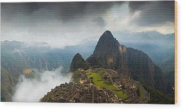 Clouds About To Envelop Machu Picchu Wood Print by Alison Buttigieg