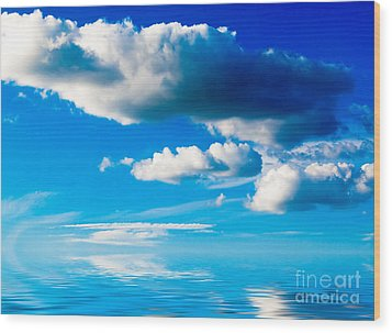 Clouds And Sea Wood Print by Boon Mee