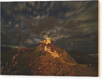 Clouds And Stars Over Tsemo Wood Print by Aaron S Bedell
