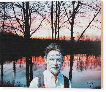 Clown Wood Print by Dennis Stahl
