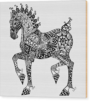 Clydesdale Foal - Zentangle Wood Print by Jani Freimann