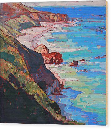 Coast Line Wood Print by Erin Hanson
