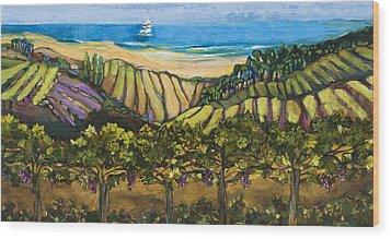 California Coastal Vineyards And Sail Boat Wood Print by Jen Norton