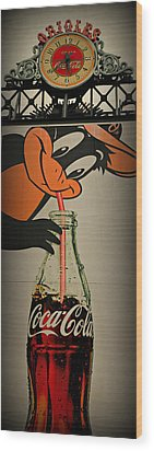 Coca Cola Orioles Sign Wood Print by Stephen Stookey
