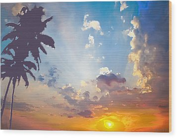 Coconut Trees In The Sunset Wood Print by Dominique Amendola