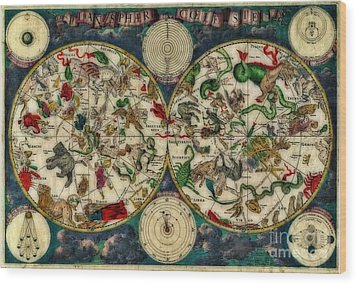 Coeletste Old World Map Wood Print by Inspired Nature Photography Fine Art Photography