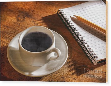 Coffee For The Writer Wood Print by Olivier Le Queinec