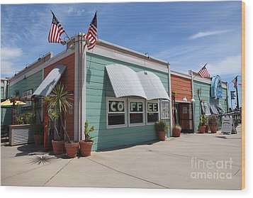 Coffee Shop At The Municipal Wharf At Santa Cruz Beach Boardwalk California 5d23833 Wood Print by Wingsdomain Art and Photography