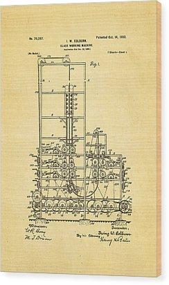 Colburn Flat Glass Working Machine Patent Art 1902 Wood Print by Ian Monk