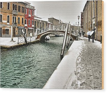 Wood Print featuring the photograph Cold Winter In Venice by Thierry Bouriat