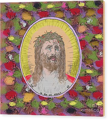 Colored Background Jesus Wood Print by Donna Munro