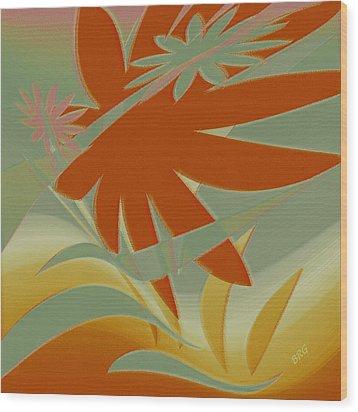 Colored Jungle Orange Splash Wood Print by Ben and Raisa Gertsberg