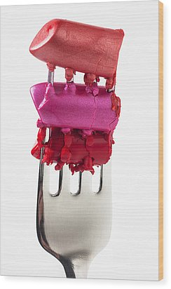 Colored Lipstick On Fork Wood Print by Garry Gay