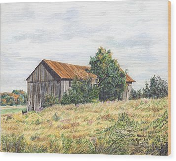 Colored Pencil Barn Wood Print by Marshall Bannister