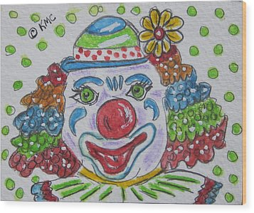 Colorful Clown Wood Print by Kathy Marrs Chandler