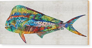 Colorful Dolphin Fish By Sharon Cummings Wood Print by Sharon Cummings