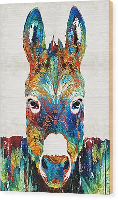 Colorful Donkey Art - Mr. Personality - By Sharon Cummings Wood Print by Sharon Cummings