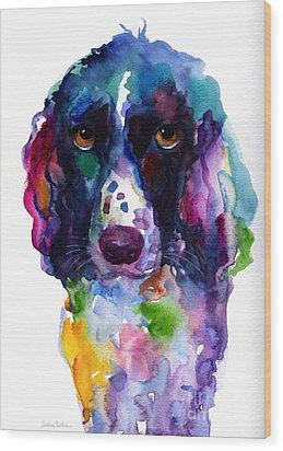 Colorful English Springer Setter Spaniel Dog Portrait Art Wood Print by Svetlana Novikova