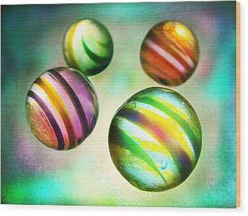 Colorful Glass Marbles Wood Print by Marianna Mills