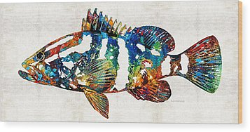 Colorful Grouper 2 Art Fish By Sharon Cummings Wood Print by Sharon Cummings
