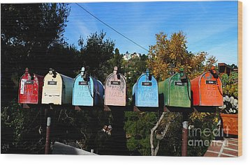 Colorful Mailboxes Wood Print by Nina Prommer