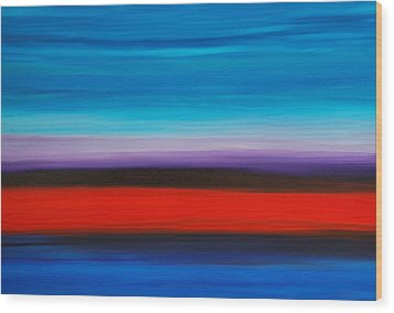 Colorful Shore - Abstract Art By Sharon Cummings Wood Print by Sharon Cummings