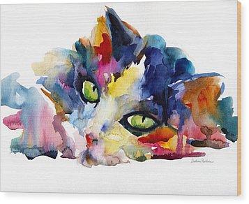Colorful Tubby Cat Painting Wood Print by Svetlana Novikova
