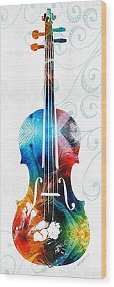 Colorful Violin Art By Sharon Cummings Wood Print by Sharon Cummings