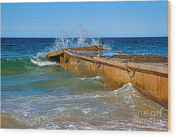 Colorful Waves Around Old Pier Wood Print by Kaye Menner