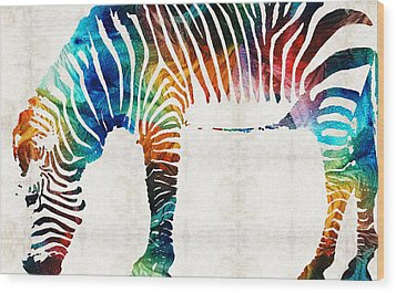 Colorful Zebra Art By Sharon Cummings Wood Print by Sharon Cummings