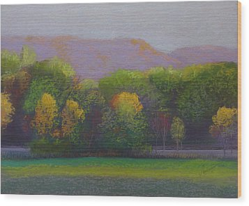Colors By The Tracks Wood Print by Sherri Anderson
