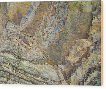 Colour Jagged Rock Wood Print by Graham Foulkes