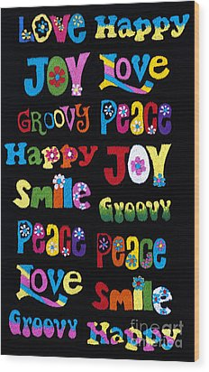 Colourful Words Wood Print by Tim Gainey