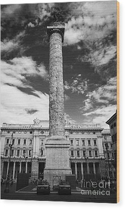 Column Of Marcus Aurelius Topped By Bronze Statue Of St Paul In Piazza Colonna Rome Lazio Italy Wood Print by Joe Fox