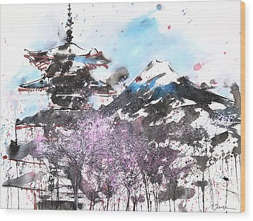Combination No.32 Spring Time Mt.fuji And Pagoda Wood Print by Sumiyo Toribe