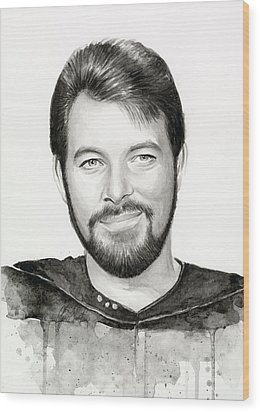 Commander William Riker Star Trek Wood Print by Olga Shvartsur