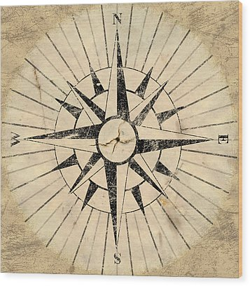 Compass Face Wood Print by Allan Swart