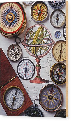 Compasses And Globe Illustration Wood Print by Garry Gay