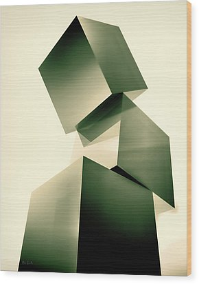 Condescending Cubes Wood Print by Bob Orsillo
