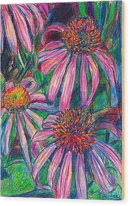 Coneflower Twirl Wood Print by Kendall Kessler