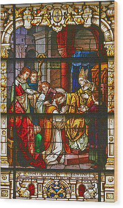 Consecration Of St Augustine Stained Glass Window Wood Print by Christine Till