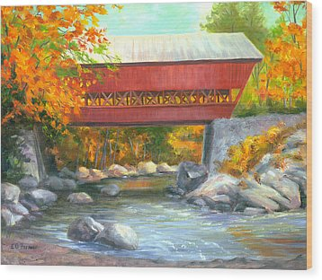 Conway Covered Bridge #47 Wood Print by Elaine Farmer