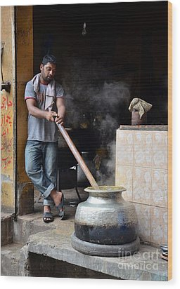 Cooking Breakfast Early Morning Lahore Pakistan Wood Print by Imran Ahmed