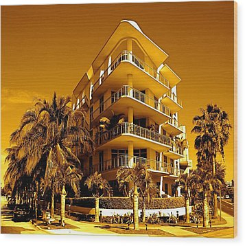 Cool Iron Building In Miami Wood Print by Monique Wegmueller