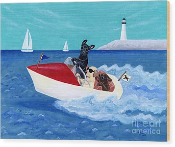 Cool Motorboat Labradors Wood Print by Naomi Ochiai
