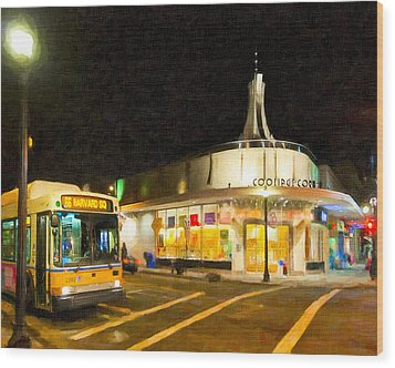 Coolidge Corner In Brookline At Night Wood Print by Mark E Tisdale