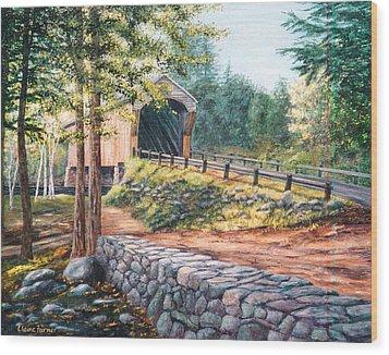 Corbin Covered Bridge Wood Print by Elaine Farmer